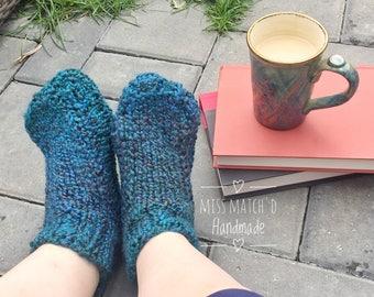 Teal Women's Medium Adult Bootie Socks - Hand Knit Grippy Slippers - No Slip Slippers - Ladies Slipper Socks - Knit Socks - Adult Booties
