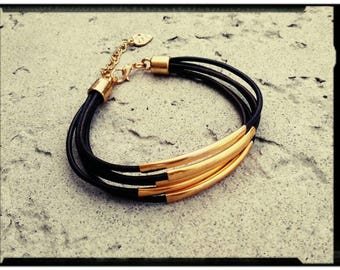 Leather & Gold - Layered Wrap Bracelet - Distressed Leather//Gold Tube Beads - Gold  Closure/Lobster Clasp - Modern//Boho chic