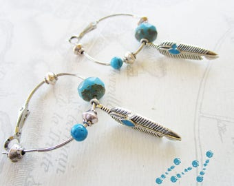 Creole earrings, turquoise beads and silver feather