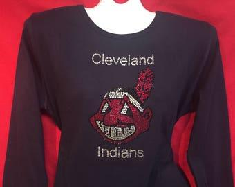 Cleveland Indians Baseball Rhinestone crystal women's Navy shirt . SHORT or LONG Sleeve Misses S, M, L, XL, Plus size 1x, 2X, 3X shirts
