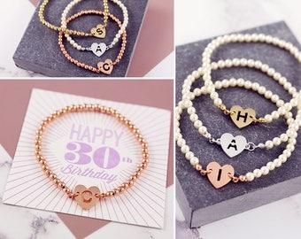 Her 30th Birthday | Letter Bead Bracelet | 30th Birthday Gift | Dainty Jewelery | Beaded Bracelet | Tiny Heart Bracelet | Delicate Bracelet