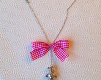 Teddy bear and Fuchsia bow necklace
