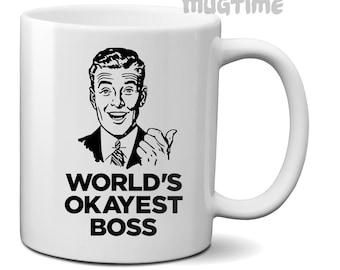 Worlds Okayest Boss - Collectors Coffee Tea Mug Cup - Ceramic 330ml 11oz