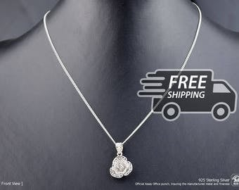 Portuguese Filigree PENDANT Flower (2,4cm) with Necklace in 925 Sterling Silver