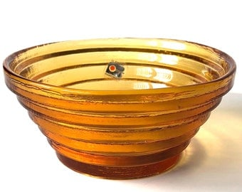 "Rare - Blenko Handcraft Tiered Orange Yellow Bowl Stair Step Signed 6"" Diameter"