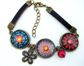 Lovely bracelet three different mandalas with leather bracelets