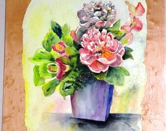 "NELLY WATERCOLOR""peonies""past in wood"