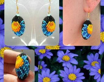 Beaded Earrings Oval Earrings Flower Earrings Blue Earrings Beaded flower Beadwork Birthday gift A gift for her Gift from Ukraine