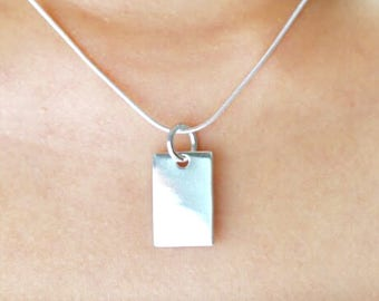 Silver Bar Charm, Rectangular Charm, Bohemian Pendant, Simple Charm, Silver Pendant, Minimalist Necklace, Gift Necklace, P84