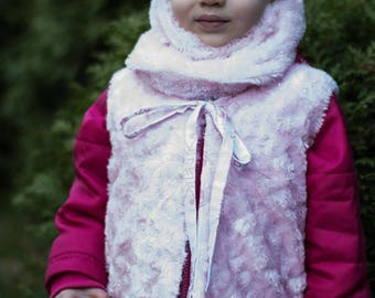Pink baby vest and cowl set/ Minky pink baby vest / Minky pink toddler vest / Minky cowl scarf / Baby vest and snood / Toddler vest and cowl