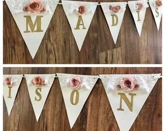 Elegant floral bame banner, Baby Shower banner, Vintage baby shower banner, Rose flower banner, baby shower, Vintage Banner, Vintage Decor
