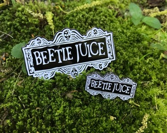 Beetlejuice Black and White Enamel Pin