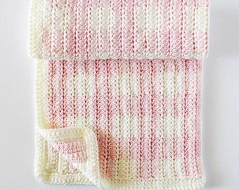 Crochet Light Pink DC2TOG Gingham Blanket