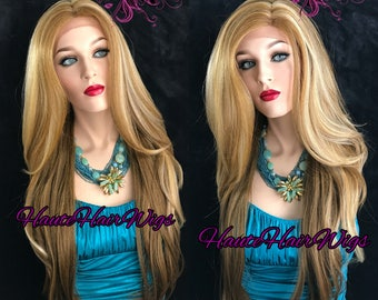 Multitone Blonde Long Straight Human Hair Blend Swiss Lace Front Wig - Castella