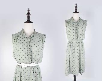 Polka Dot Ruffle Collar Sleeveless Green Vintage Women Dress Size M