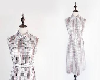 Pink Grey Polka Dot Flat Collar Sleeveless White Vintage Women Dress Size M