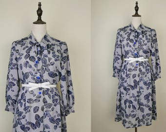 Grey Vintage Dress Navy Leaf Print Ascot Collar Cuff Sleeves Size S-M
