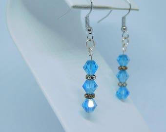 Blue sapphire earrings. Swatovski crystal. Crystal earrings.