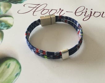 Bracelet cords ethnic multicolored Navy Blue and red magnet