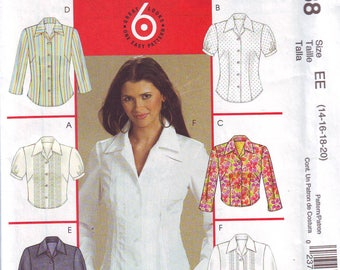 Women's UNCUT Blouse Pattern by McCall's in sizes 14-20 From 2006