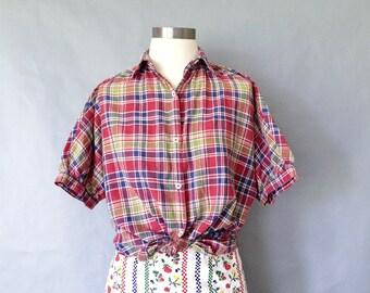 vintage plaid blouse/ cotton blouse/ button down blouse/ short sleeve women's size S/M
