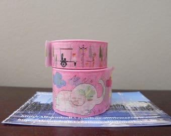 2 Washi tape 5 m Pink: elephants, and landscape
