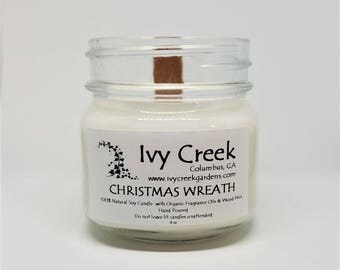 Christmas Wreath Candle, Christmas Wreath, Natural Candle, Wood Wick Candle, Crackle Candle, Soy Candle, Wood Wick Candle, Gifts for Her