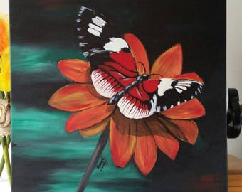 Butterfly painting. Acrylics on stretched canvas. Unframed 40cm x 49.5cm