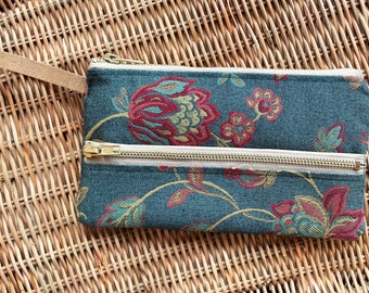 Wallet, purse, organizer, vintage -flowers fabric, vegan leather, ladies accessories