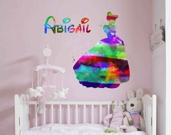 Cinderella Wall decal Personalized Girl Name Wall Decal Cinderella Vinyl Wall Nursery Decor Cinderella Decal Girls Room Decor kcik2044