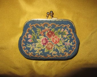 Vintage Silk Needle Point Embroidered Coin Purse