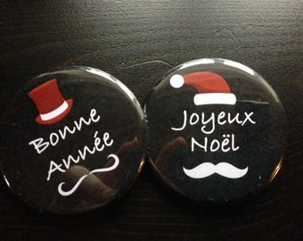 set of 2 pin badges Christmas trend Hipster