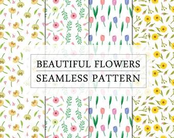Seamless Flower Patterns | Printable Patterns | Digital Flower Patterns
