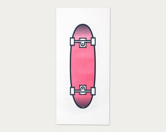 Skateboard screen print poster - 23 x 50 cm - original print - skateboard art print - red blue - hand printed in limited edition