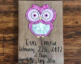 Custom birth announcement board