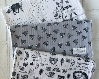 Woodland Burp Cloth Set of Three | Black and White Baby Burp Cloths | Gender Neutral Burp Cloths | Baby Gift | Baby Shower Gift