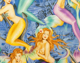 Sea SIrens in Blue from Alexander Henry Nicole's Prints 7825A cotton sheeting pin up girls quilting cotton mermaid fabric by the yard