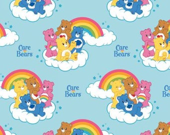 Blue Care Bears Rainbow Cotton fabric from Camelot Fabrics 44010101-2 America Greetings licensed fabric by yard metre quilting camelot