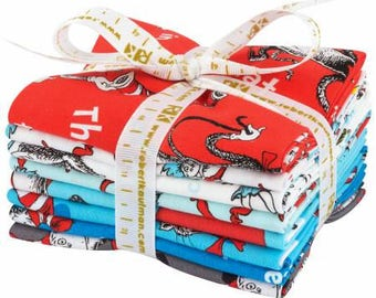 Dr Seuss The Cat in the Hat Fat Quarter Bundle from Robert Kaufman 8 pieces FQ-1300-8 cotton quilting precut fabric