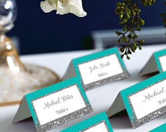 Tiffany Blue Wedding Place Cards, Turquoise and Silver Glitter Wedding PlaceCards, DIY Place Card Printable, code-048-2