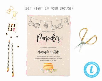 Pancakes and panties party tem, TRY BEFORE you BUY, instant download, edit yourself invitation,Template Editable