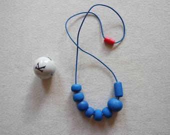 Handmade Polymer Clay and Leather Geometric Beaded Necklace Blue Glitter
