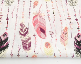 Fabric feathers 100% cotton 50 x 160 cm, feathers, pastel pink, pastel purple on white background
