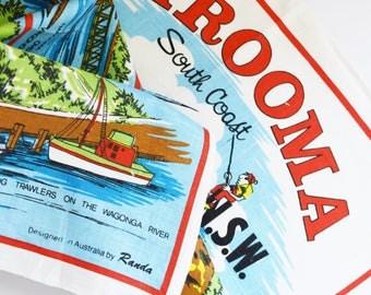 Vintage Souvenir  Tea Towel - Narooma - South Coast NSW - 1970's Era