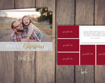 Merry Christmas Photo Card Template for Photoshop Happy Holidays Merry Christmas Customizable