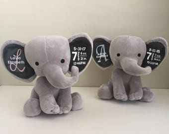 New Baby Gift -- Custom Elephant -- Personalized Name and Birth Statistics