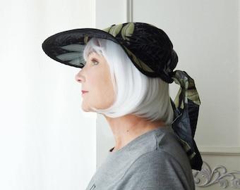 Hawaiian print Sun hat, scarf hat, visor, lightweight hat, tie hat, OOAK, hiking hat, beach hat, gardening hat, cruise wear, upcycled shirt