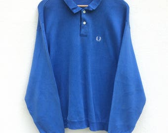 Vintage Fred Perry Sweatshirt Polo Shirt Spell Out Big Logo Tennis Casual Sportwear Mod