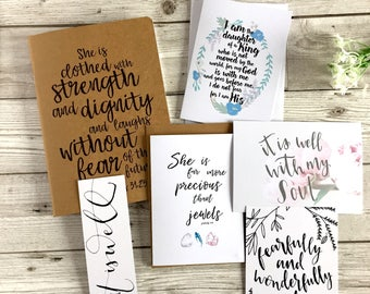 Prayer Journal Gift Set For Her - 'She is Clothed' Gift Set - Mother's Day Gift - Christian Gift - Birthday Gift - Christmas - Eco Friendly