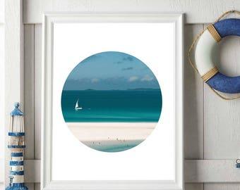 Sailing Boat Art, Beach Print, Ocean Decor, Beach Art, Sailing Ship, Printable Beach Decor, Tropical Decor, Beach House Wall Art, Porthole